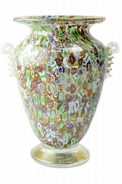 Murrine vase with gold leaf
