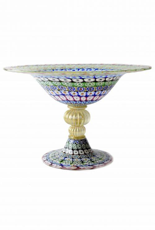 coppa centrotavola con murrine in vetro di murano