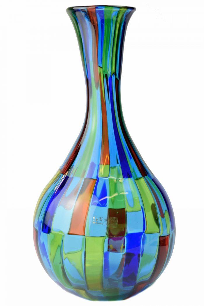 vaso pezzato in vetro di murano firmato