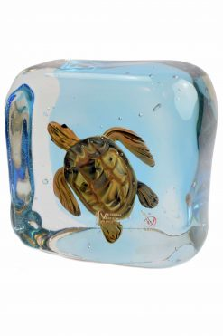 acquario in vetro di murano con tartaruga