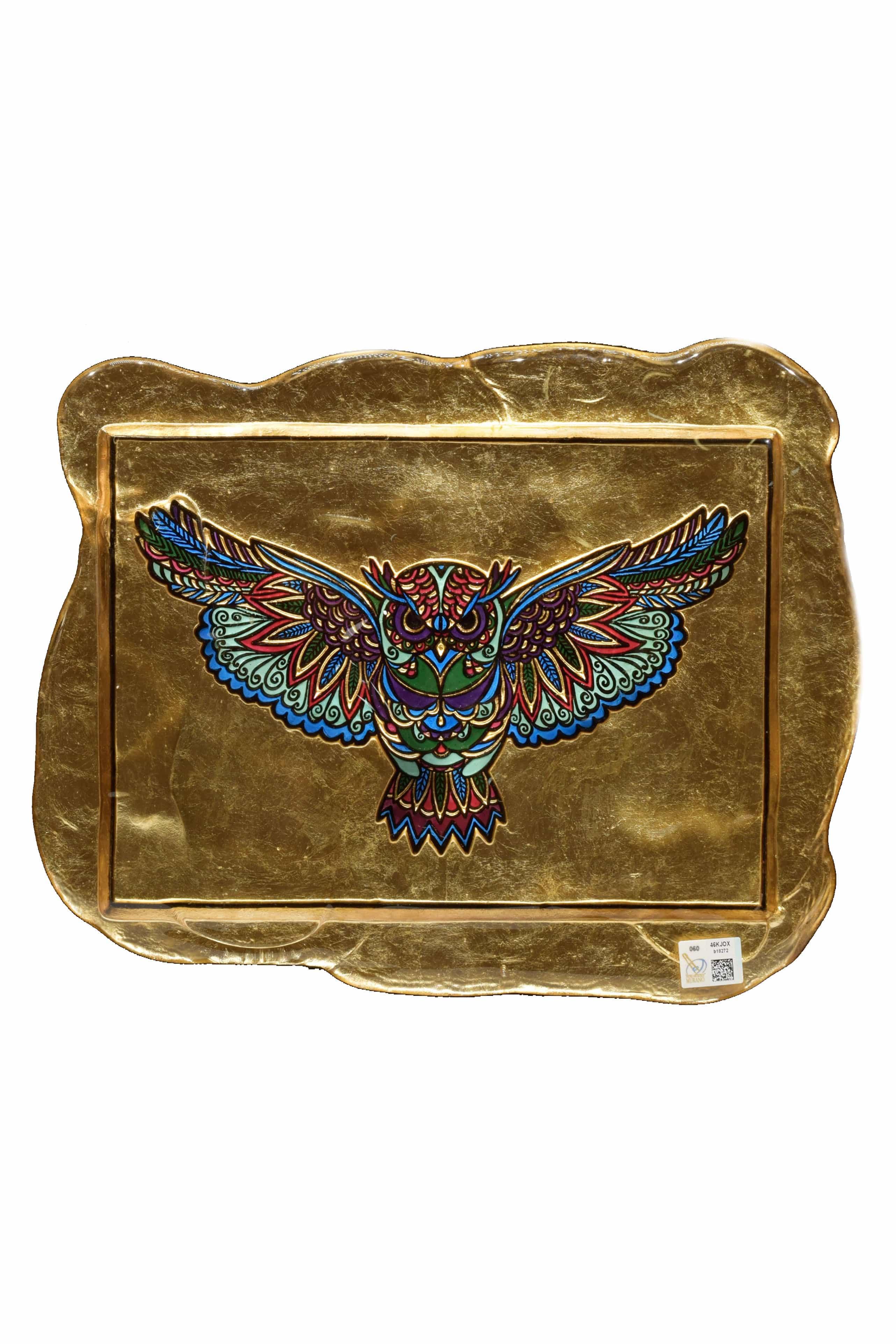 Bassorilievo in vetro di Murano rappresentante una civetta