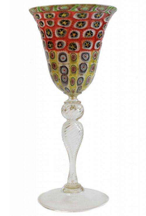 bicchiere calice con murrine in vetro di murano