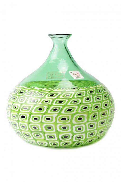 vaso in vetro di murano con murrine