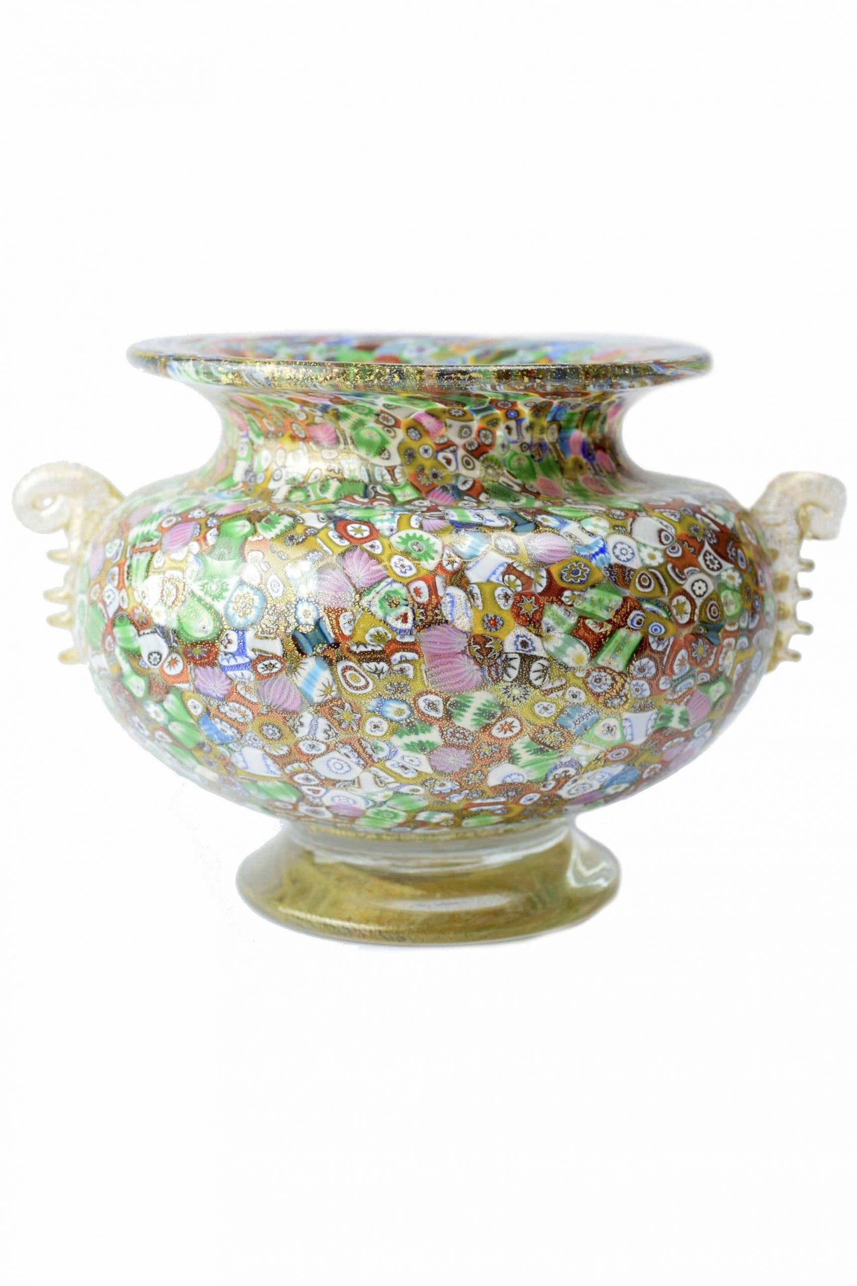 vaso in vetro di murano con murrine firmato