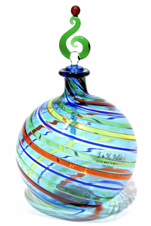 bottiglia in vetro di murano firmata