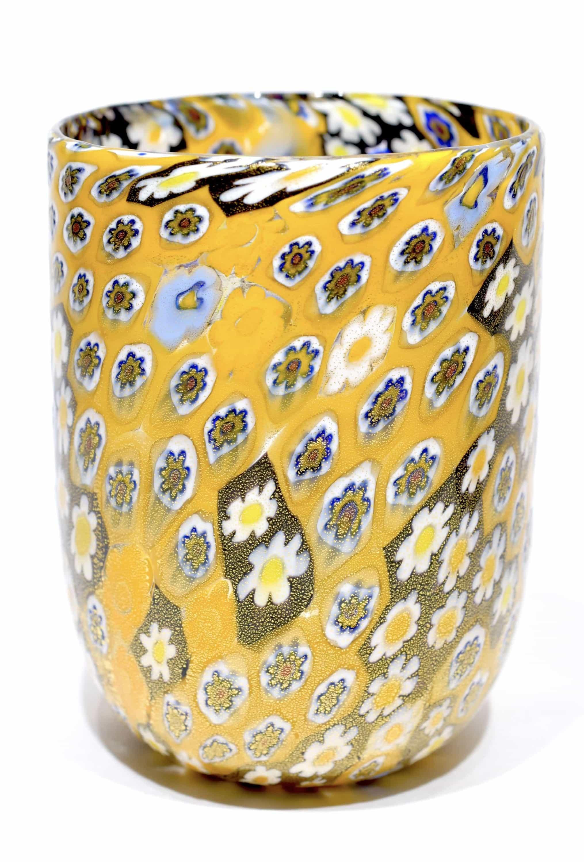 bicchiere goto murrine in vetro di murano