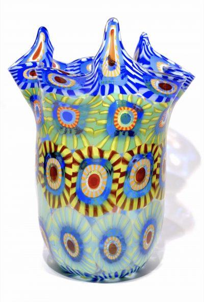 vaso fazzoletto con murrine in vetro di murano firmato