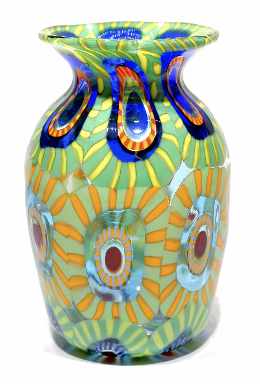 vaso con murrine in vetro di murano firmato
