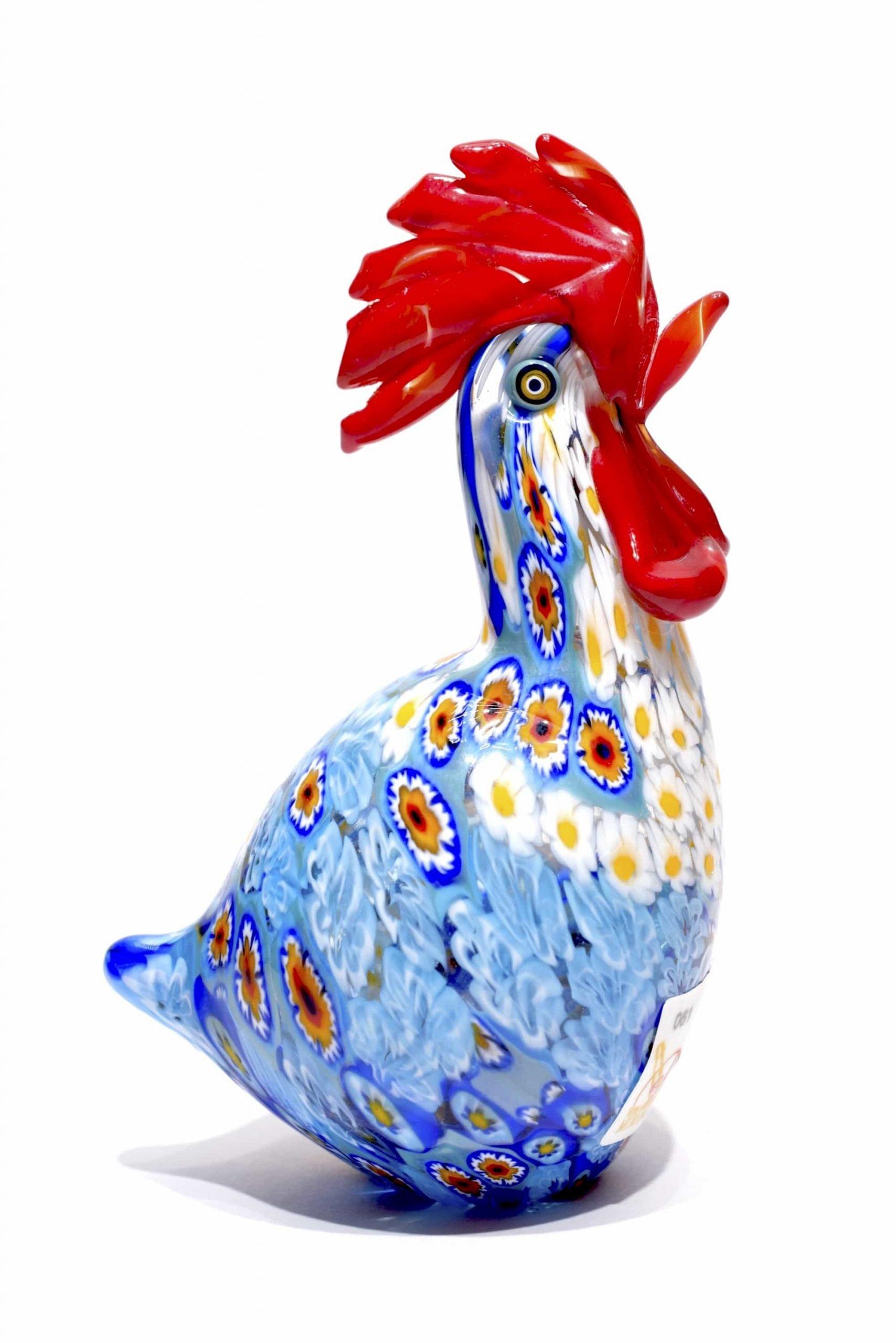 gallo in vetro di murano con murrine