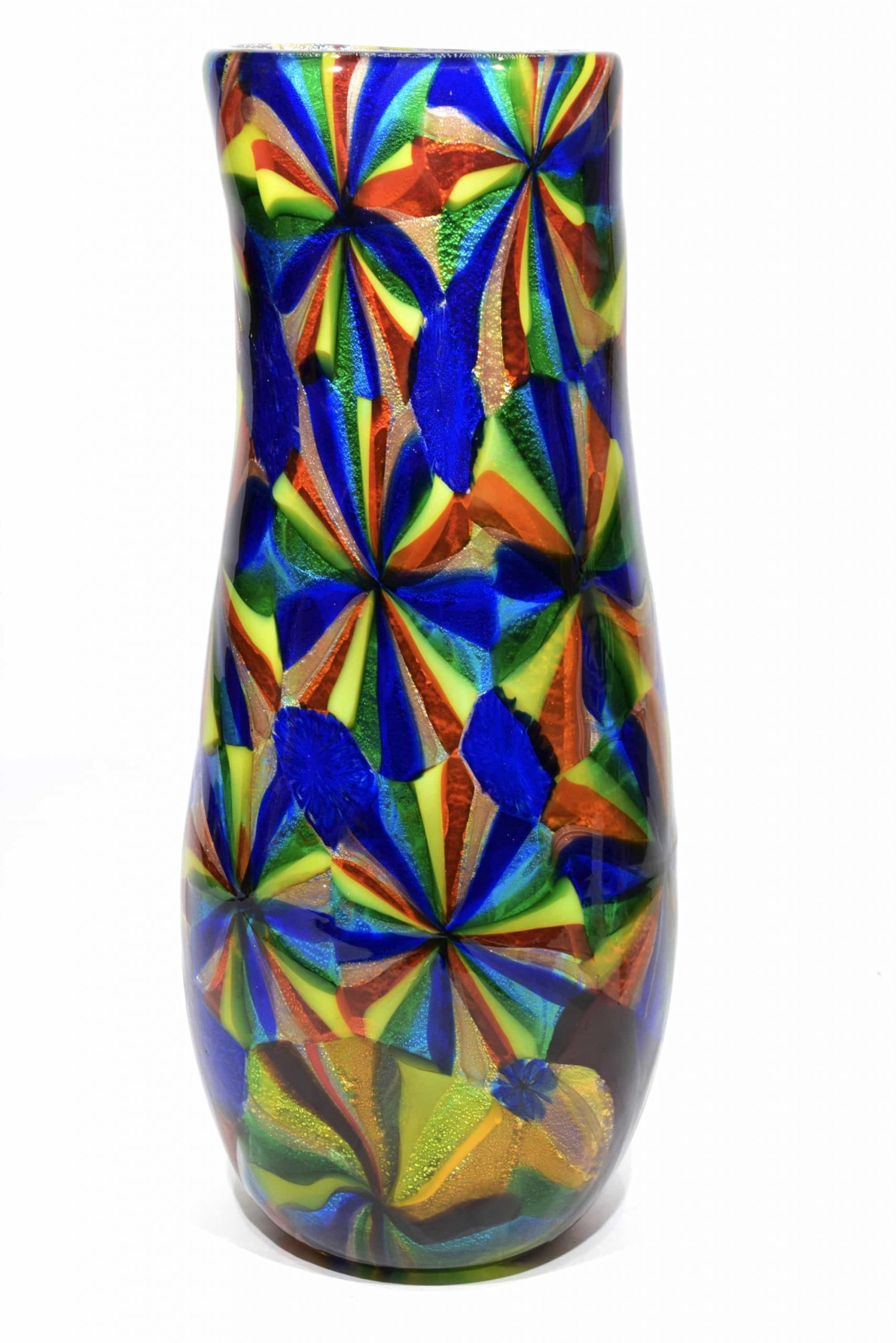 vaso stellato in vetro di murano firmato
