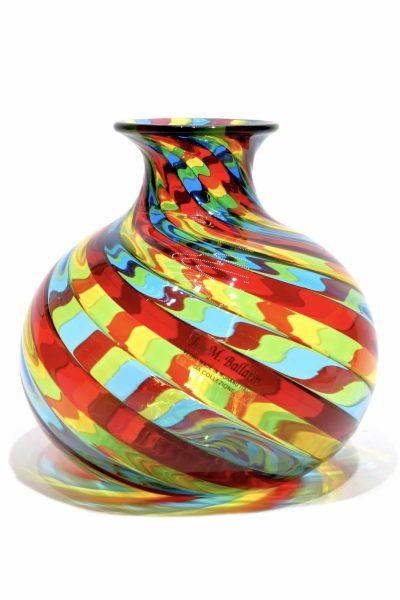Vaso di vetro di murano in filigrana