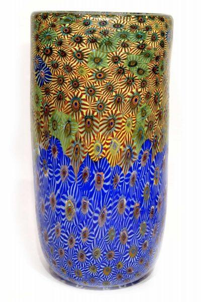 Murano glass vase murrine bicolour