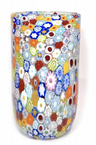 Murano glass vase millefiori murrine