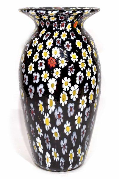 Murano glass black murrine vase