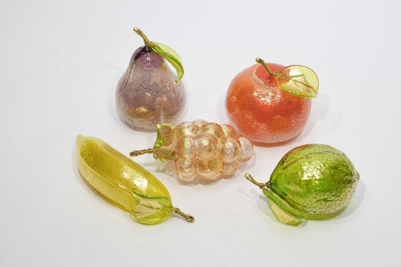 Murano glass gold leaf fruits set