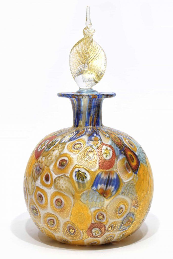 bottiglia foglia oro in vetro di murano