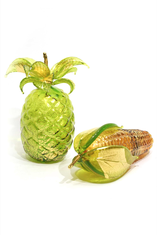 murano glass gold leaf fruits