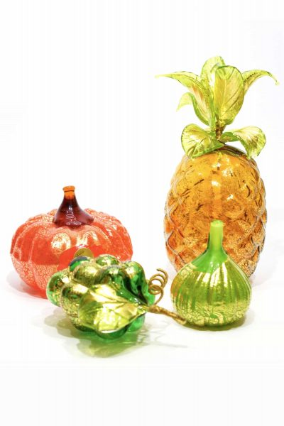 Murano glass gold leaf fruit