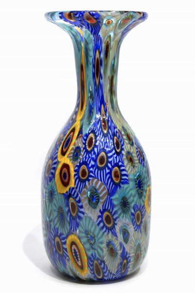 Murano glass vase with micro murrine