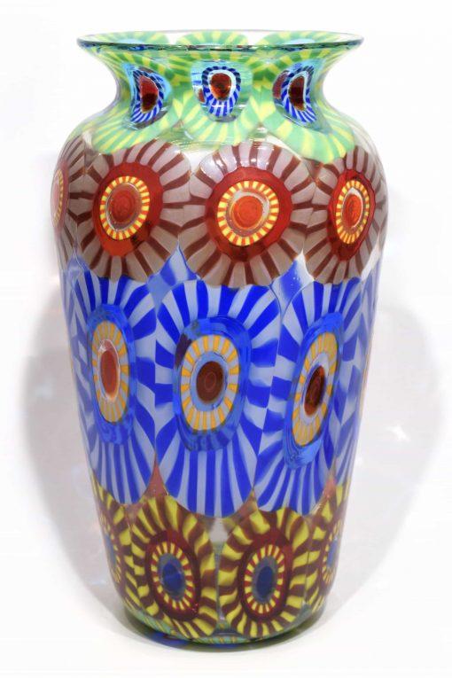 vaso con murrine in vetro di murano