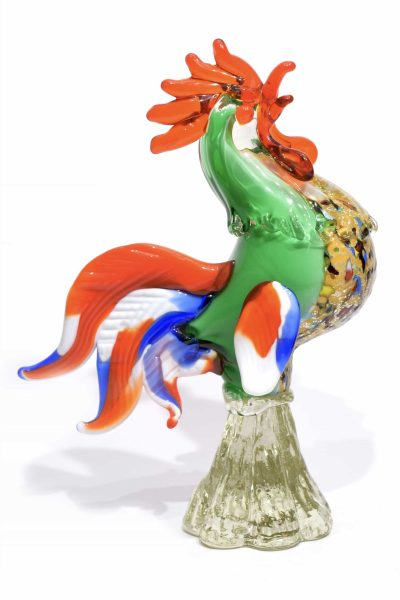 green rooster in murano glass