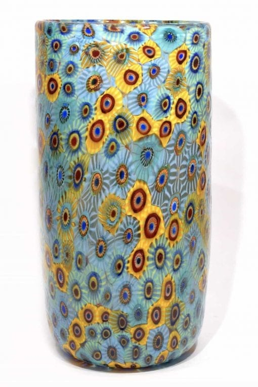 vaso con murrine in vetro di murano glass vase