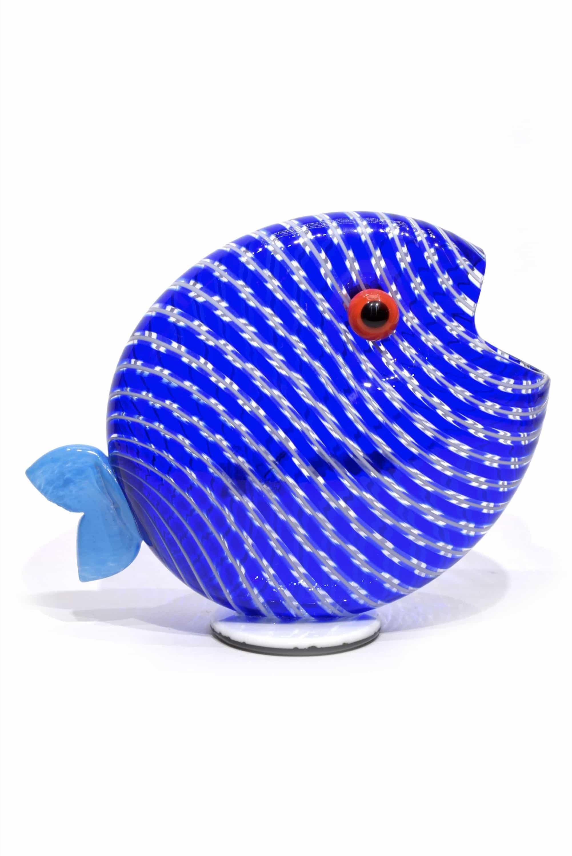 pesce filigrana blu in vetro di murano