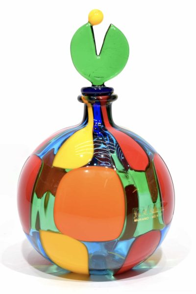 dappled murano glass bottle