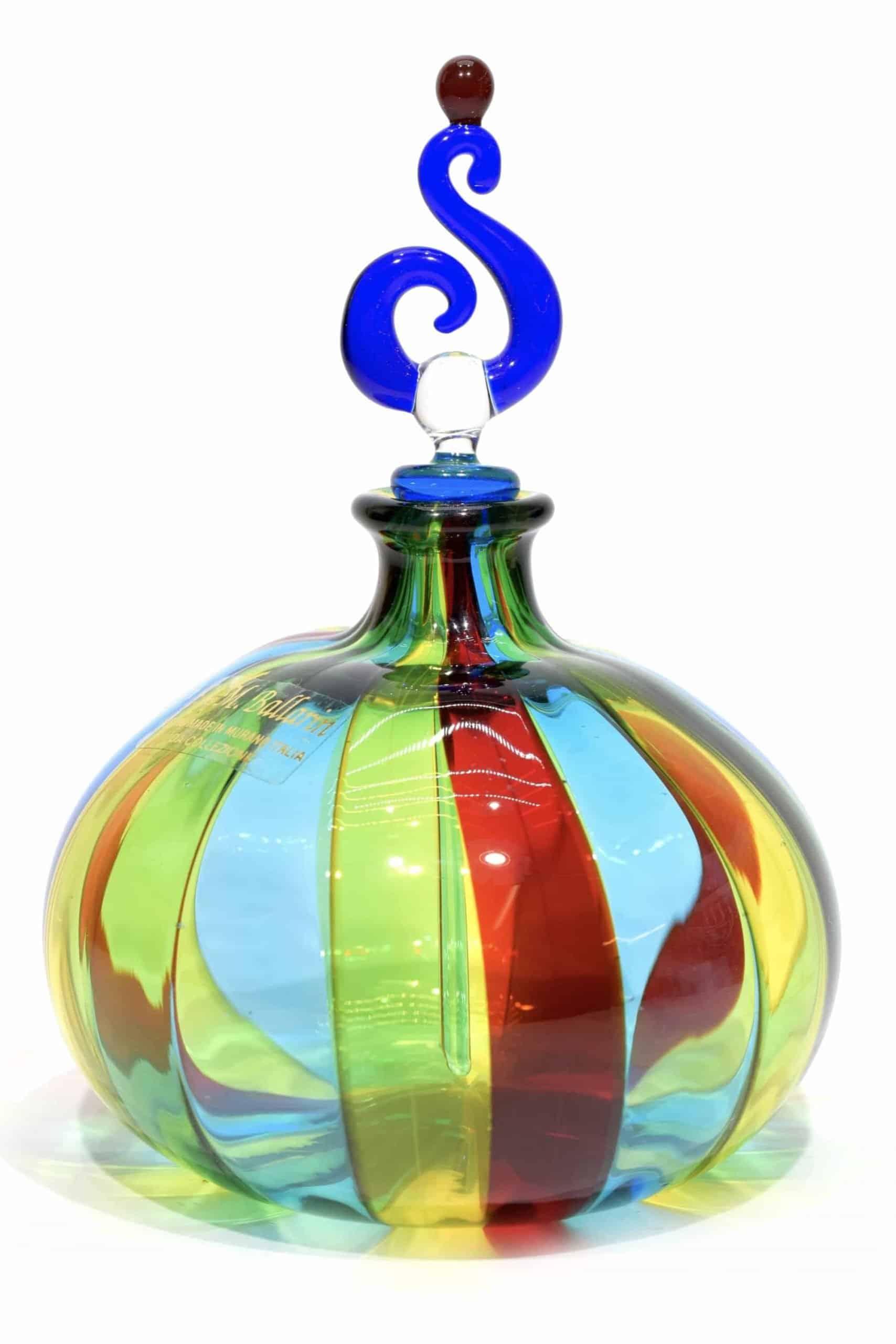 bottiglia in vetro soffiato di murano firmata