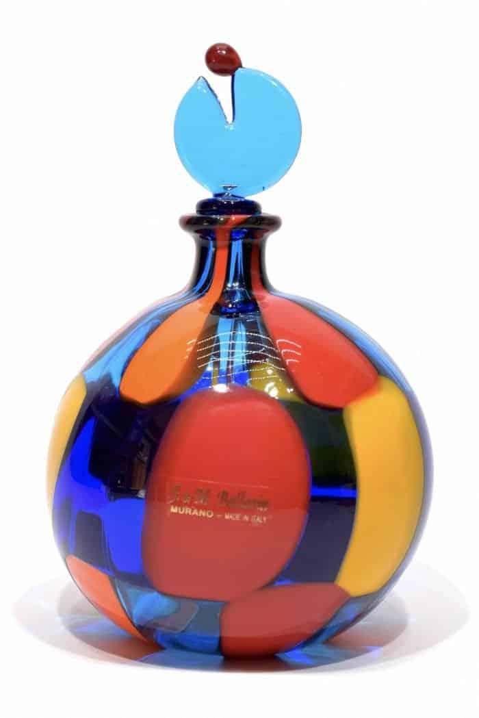 bottiglia pezzato in vetro di murano
