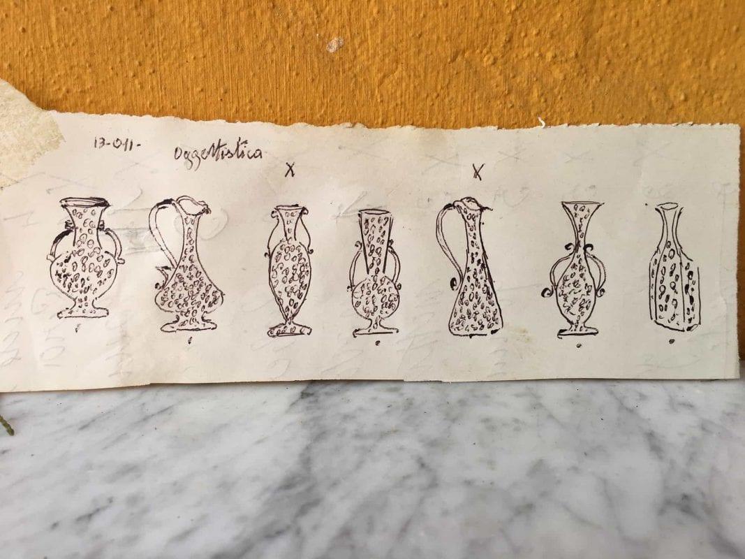 Disegno di vasi con Murrine del Maestro Egidio Ferro