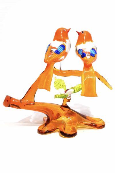 ramo con uccelli in vetro di murano glass sculpture