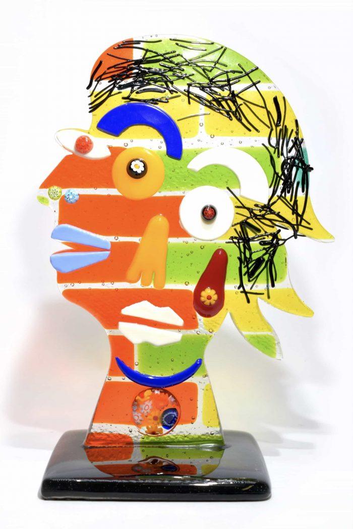 faccia picasso in vetro di murano glass sculpture