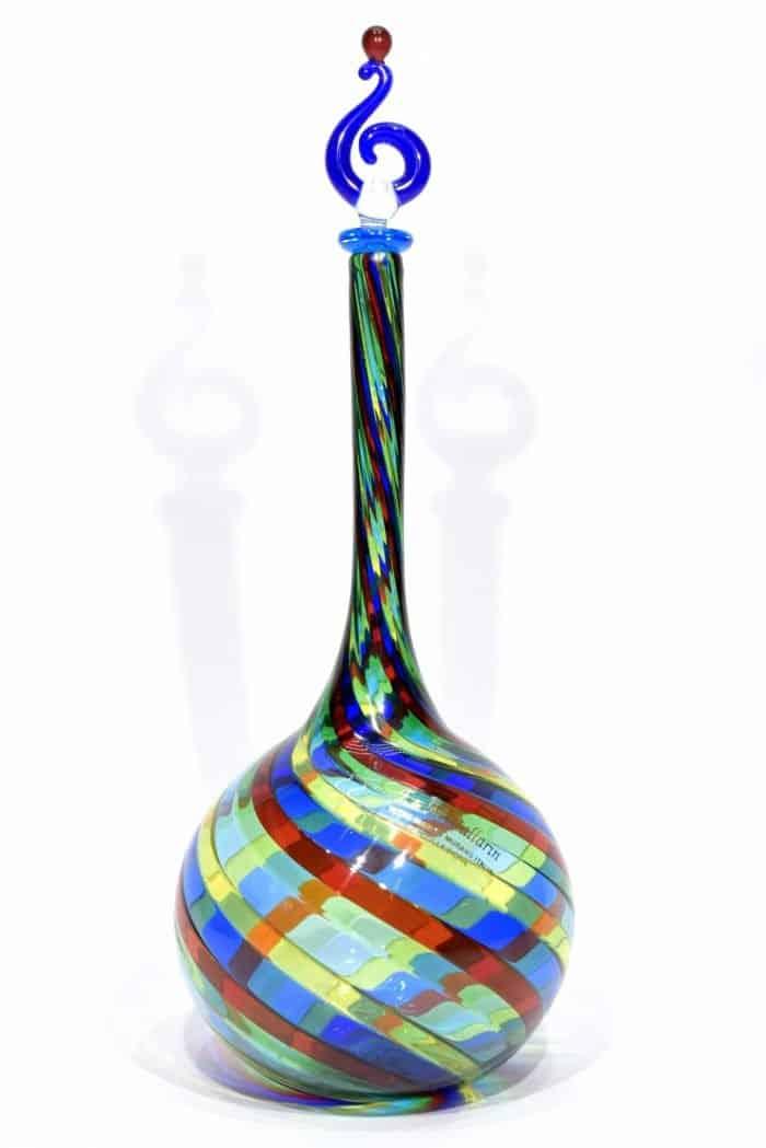 bottiglia in filigrana in vetro di murano glass bottle