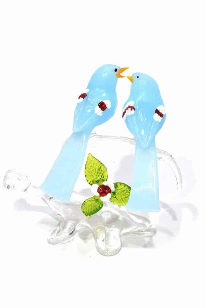 ramo con uccellini in vetro di murano