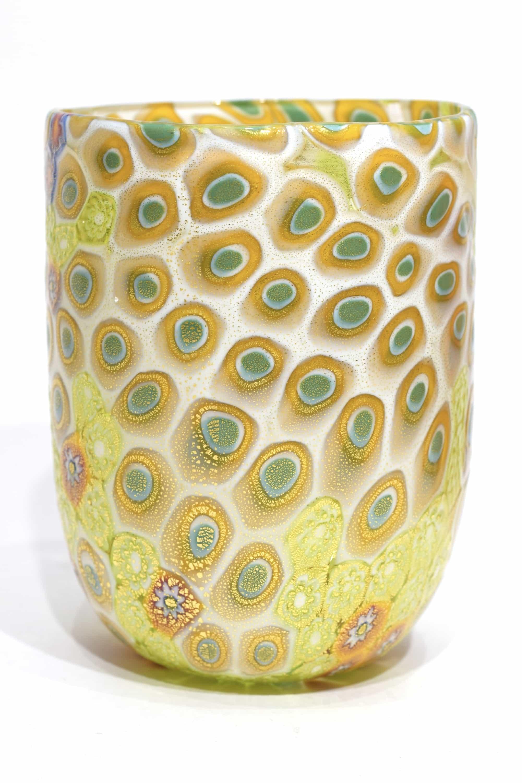 bicchiere murrine in vetro soffiato fatto a mano