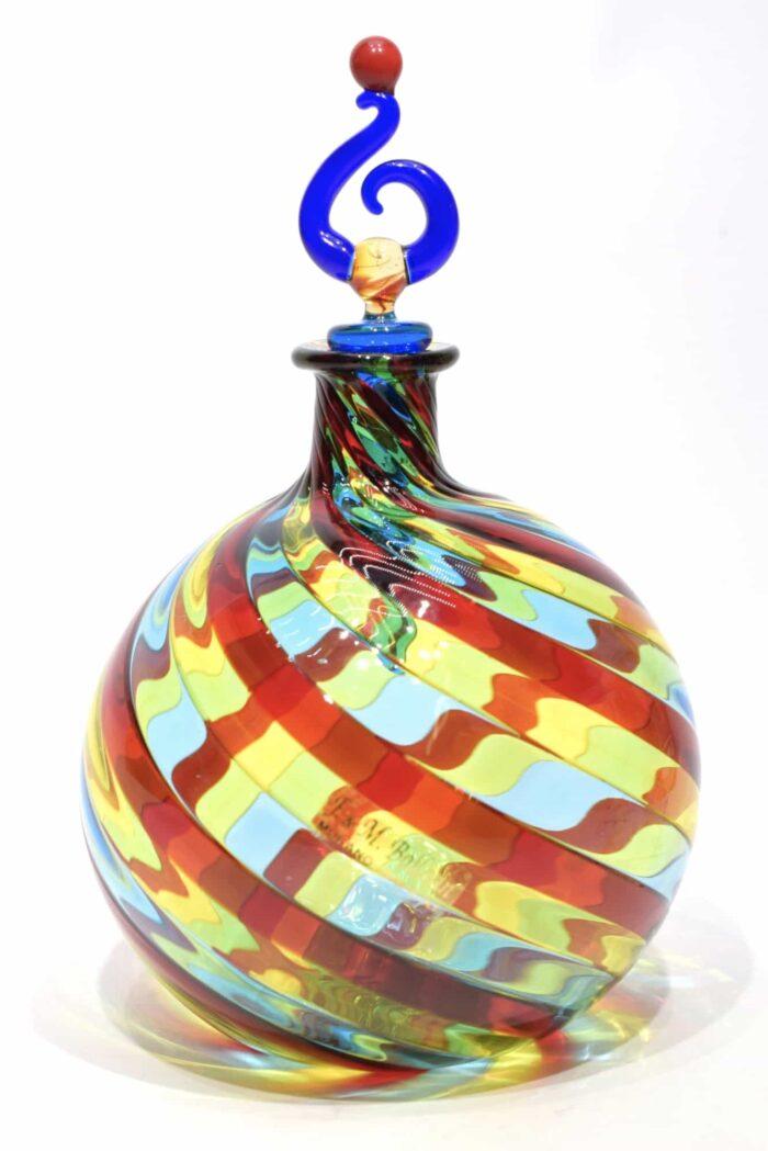 bottiglia in filigrana in vetro di murano