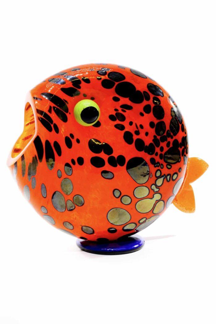 pesce con macchie in vetro di murano