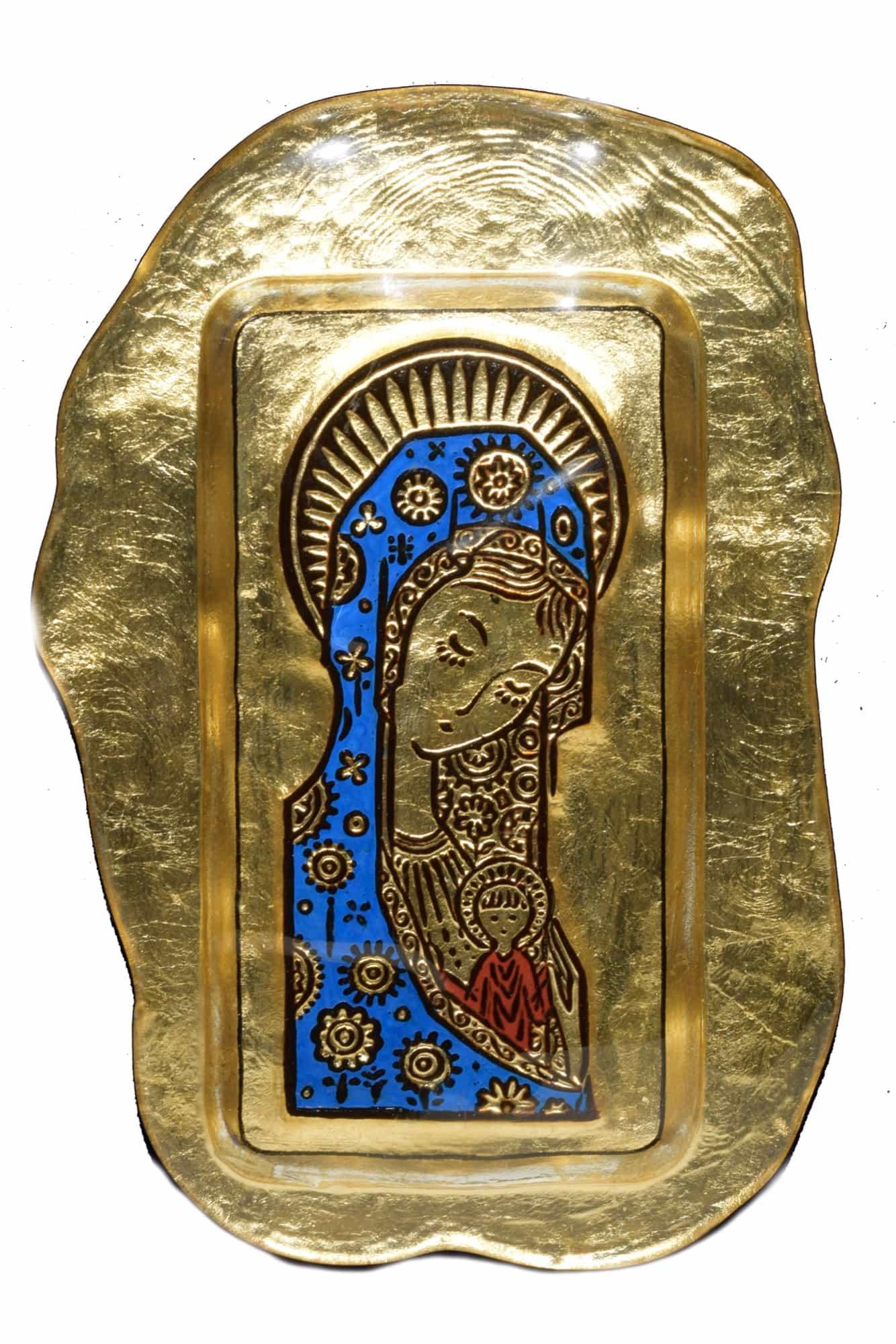 quadro bassorilievo madonna dei fiori in vetro di murano
