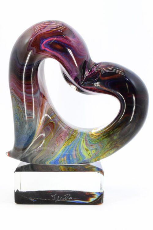 scultura cuore calcedonio in vetro di MUrano