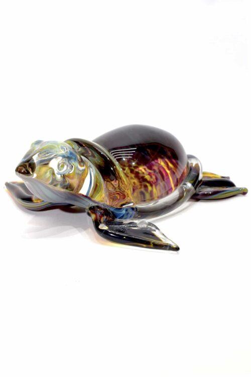 tartaruga con calcedonio in vetro di murano