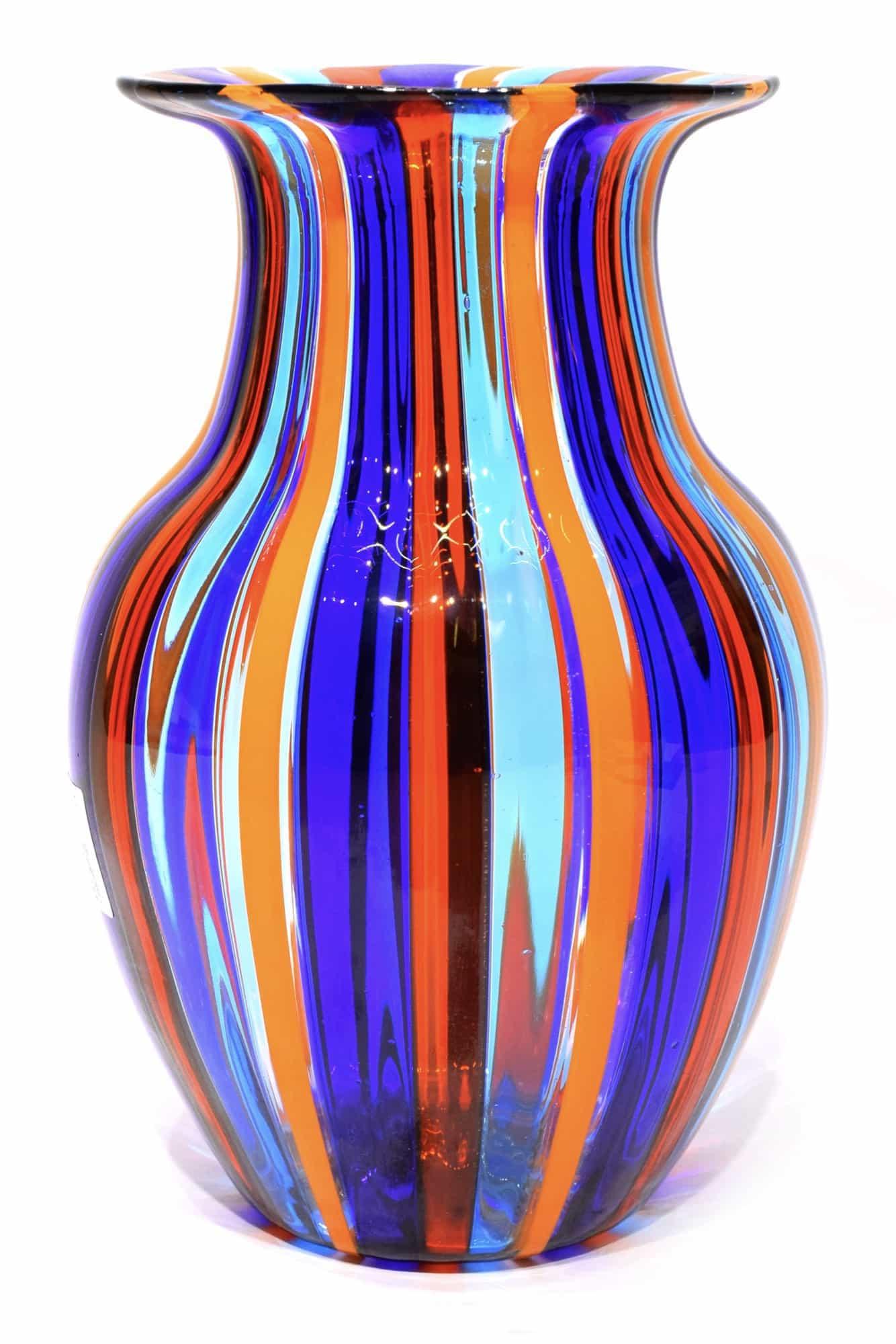 vaso a canne in vetro di murano