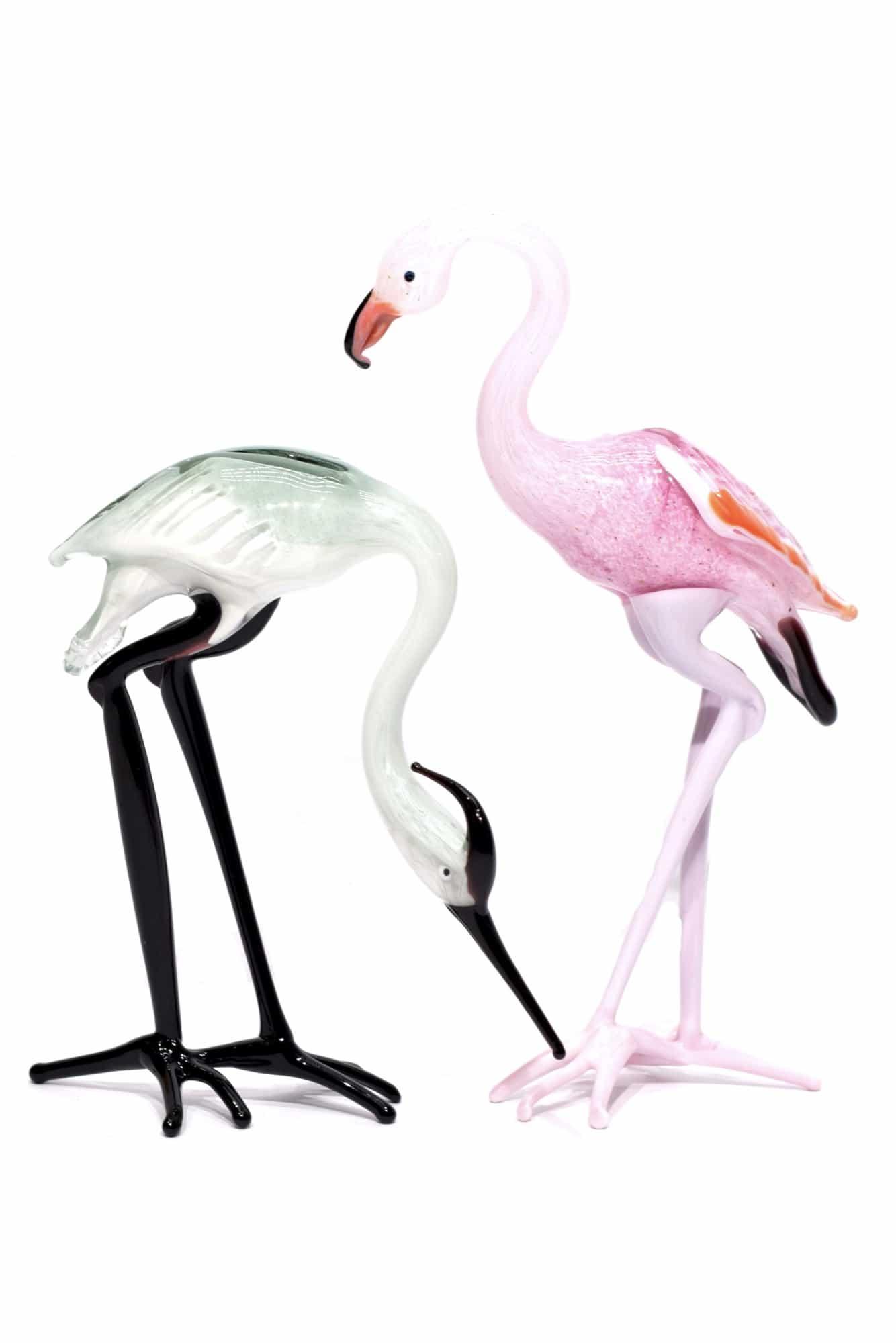 Цапля из муранского стекла и фламинго