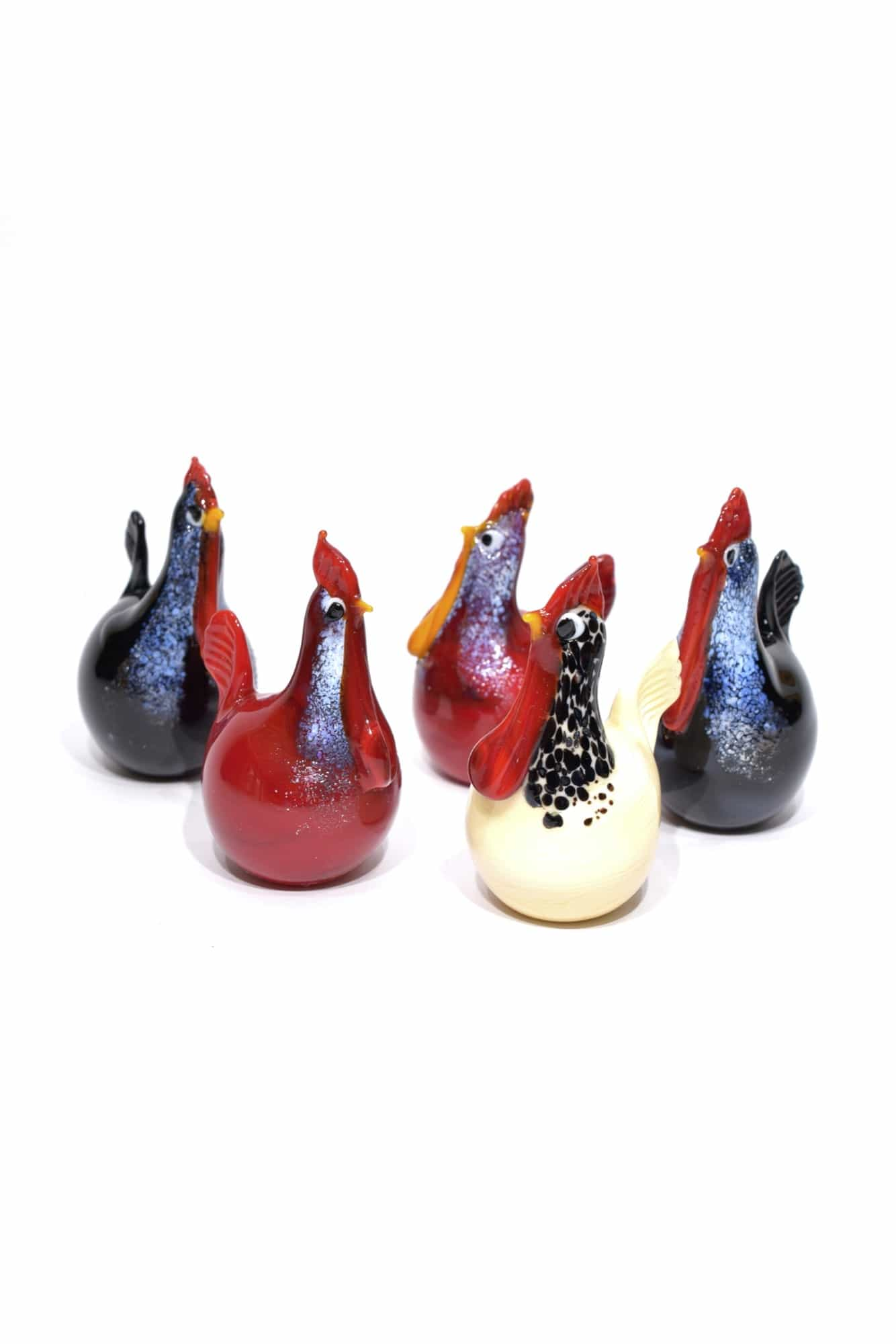 Murano glass hens