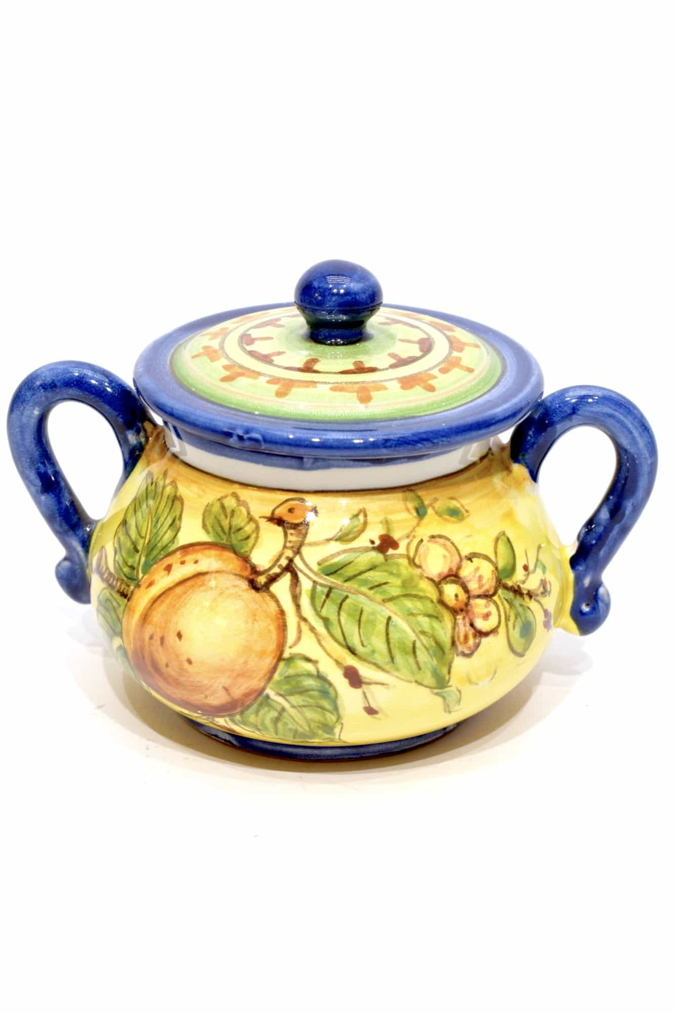 zuccheriera in ceramica dipinta a mano