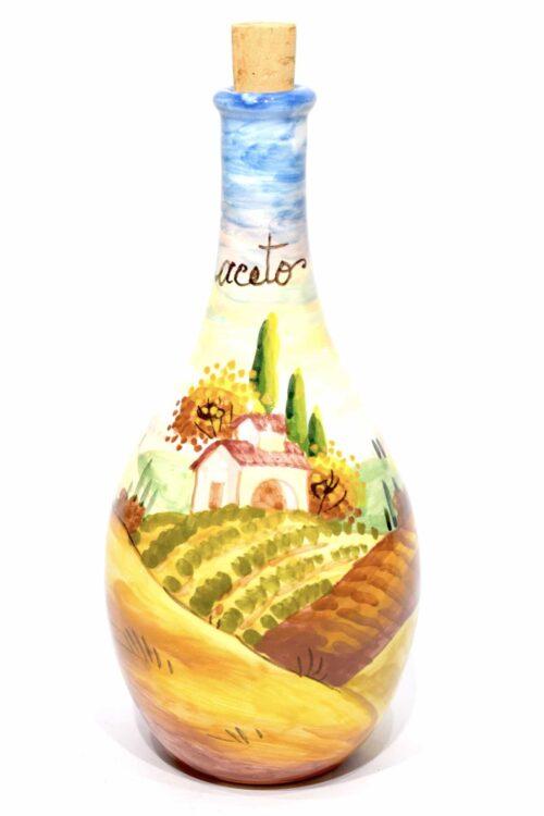 vaso porta aceto in ceramica dipinto a mano