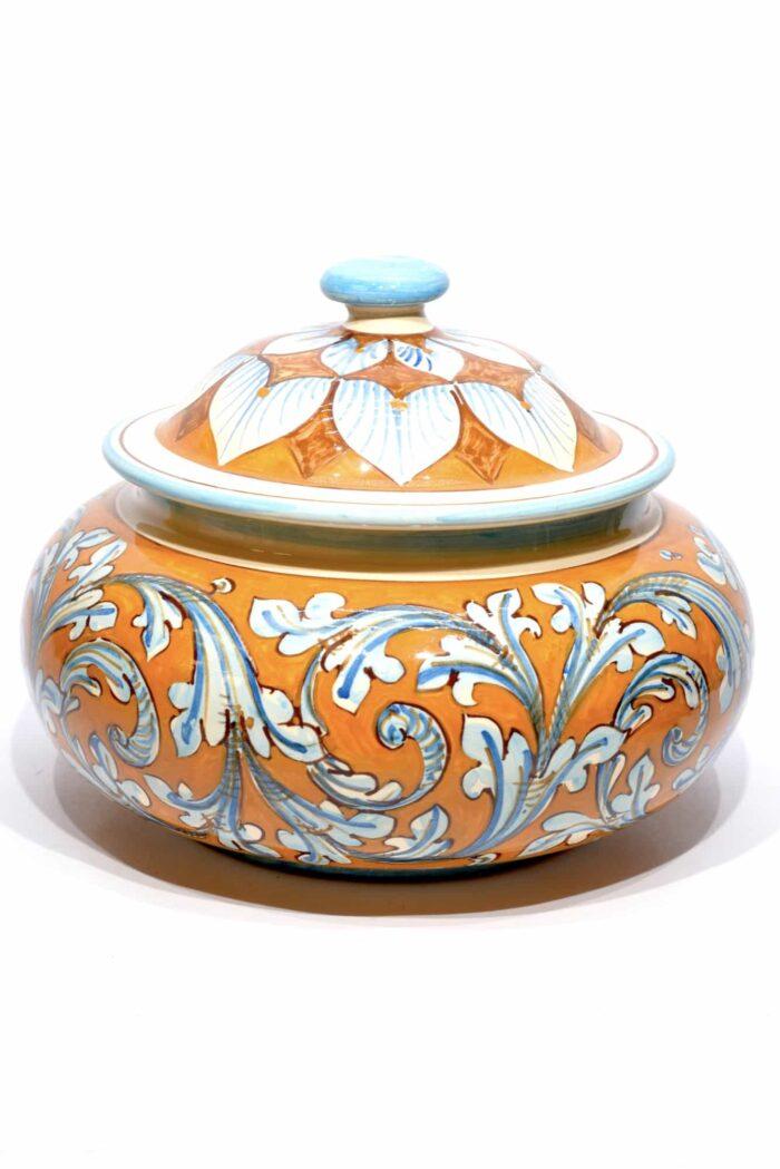 biscottiera in ceramica dipinta a mano