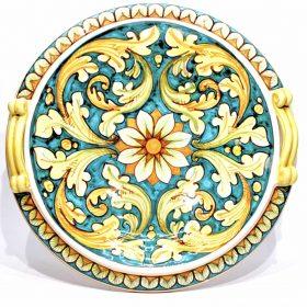 centrotavola decorato a mano in ceramica\