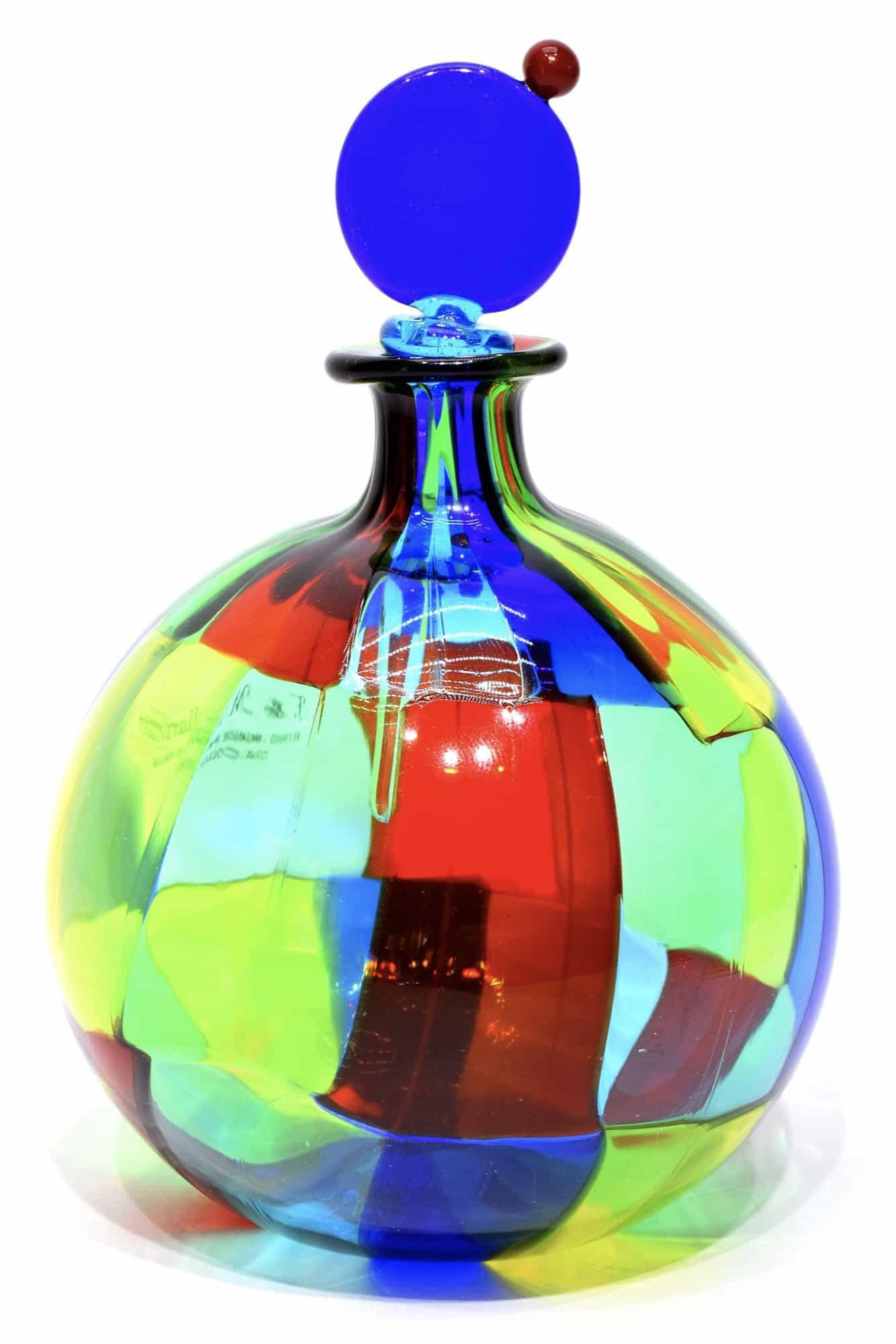 bottiglia pezzata in vetro di murano