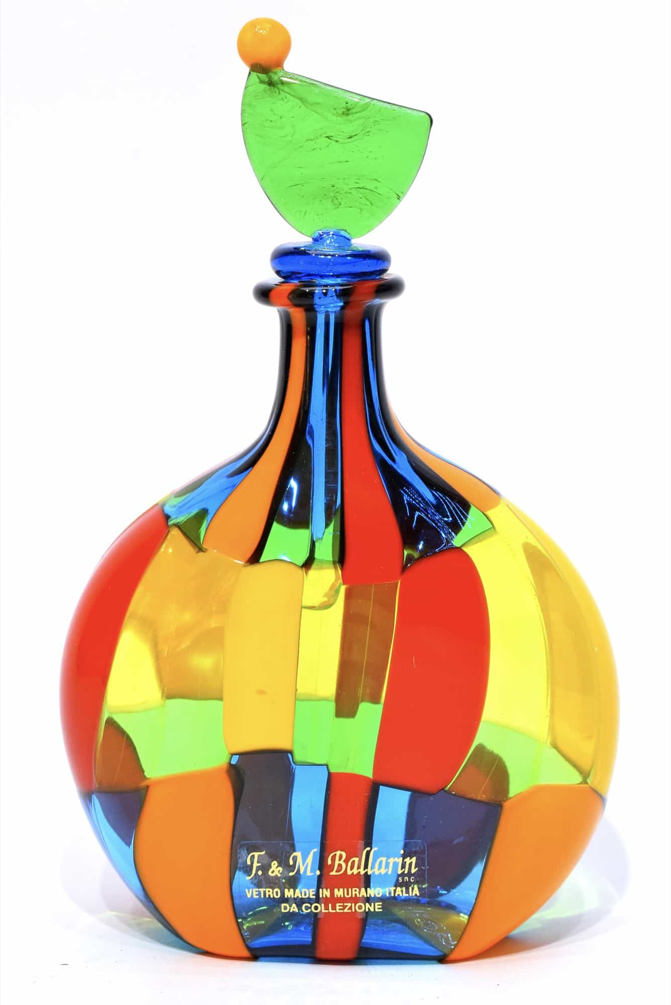 bouteille en verre de murano tachetée